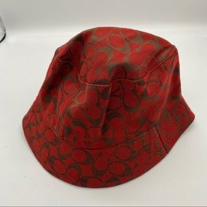 "Red Coach Signature ""C"" Fabric Bucket Hat"